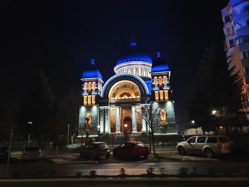Blue Lights on Orthodox Church